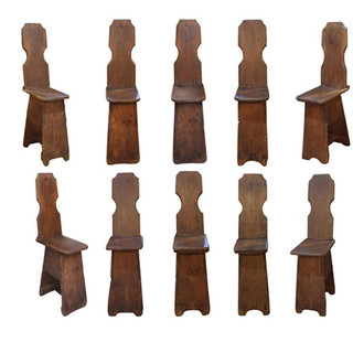 19th Century Primitive Hall Chairs (Set of 10)