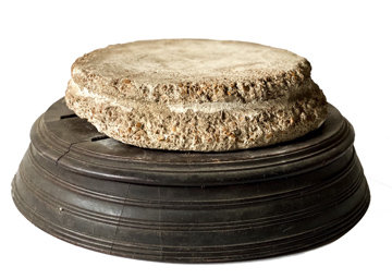 LATE 19TH CENTURY ROUND PEDESTAL W/ ROUND STONE DISC FROM FRANCE