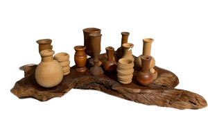 19TH CENTURY COLLECTION  Of HAND TURNED WOOD OBJECTS WITH STAND