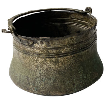 19TH CENTURY COPPER AND BRASS ARABIC COOKING BOWL FROM ARABIC DESERT