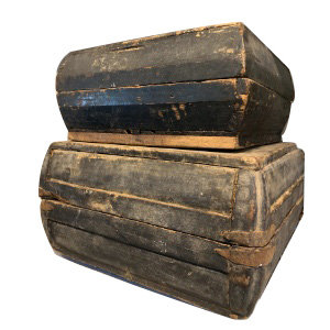 LATE 19TH CENTURY CHINESE WOOD FOOD BOXES WITH LID #1