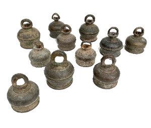 LATE 18TH CENTURY BRONZE TIBETAN BELLS