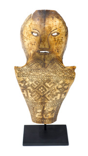 Early 19th Century Carved Bone Artifact (Mask) From Northern Sumatra Indonesia