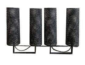 1940's Pair of Modernist perforated black metal sconces from France