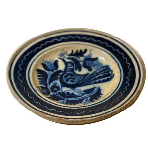 EARLY 19TH CENTURY FOLK PAINTED CERAMIC DISH FROM FRANCE