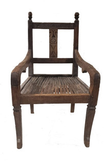 19th Century Throne Chair w/ Cane Seat