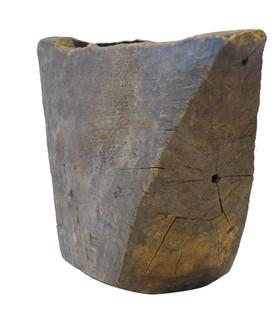 19th Century XXL Geometric Wood Drum From Africa
