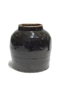 19th Century Black Ceramic Jar #2