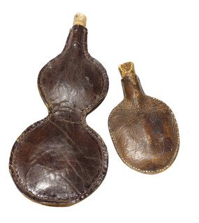 Pair of Antique Leather Flasks From Argentina