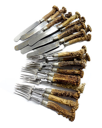 18TH CENTURY STAG/ANTLER FLATWARE FROM BAVARIA