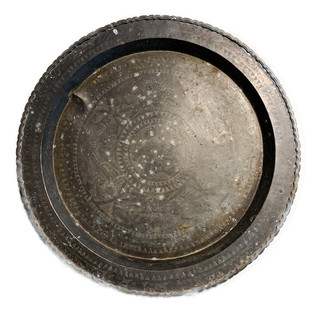 Early 20th Century Round Burnished Brass Tray
