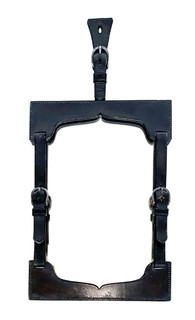 Mid 20th Century Equestrian Black Leather Mirror w/ Buckles From France