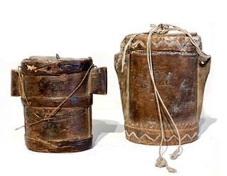 Pair of 19th Century Wood & Leather Turkish Bins