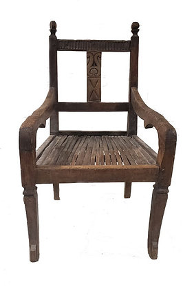 19TH CENTURY THRONE CHAIR W/CANE SEAT