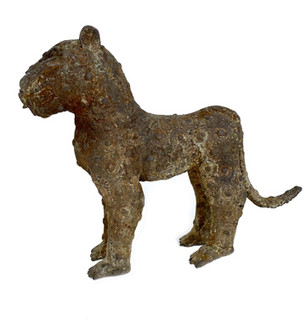 19th Century Bronze Asiatic Cheetah Statue From Iran