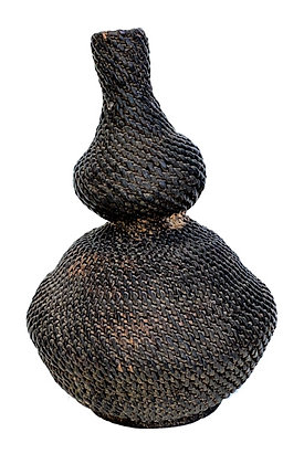 19TH CENTURY REED NARROW MOUNDED BASKET