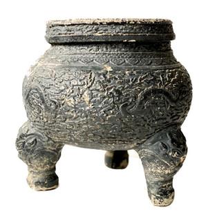 20th Century Concrete Asian  3-Legged Garden Pot