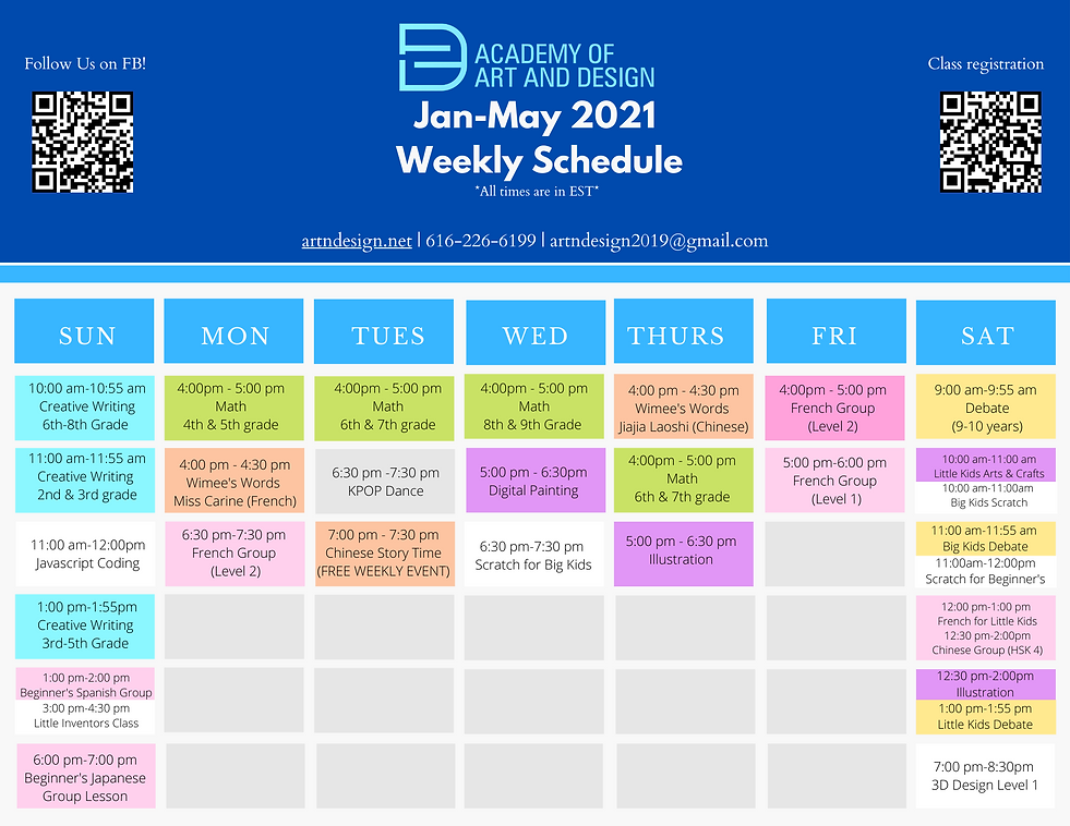 Academy of Art & Design Weekly ScheduleT