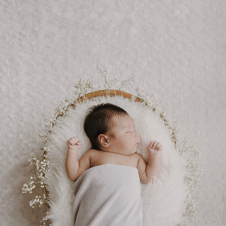 A basket of baby breath blessing for Chloe