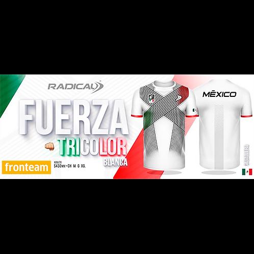 "Playera Radical ""Fuerza Tricolor"" Blanca Caballero"