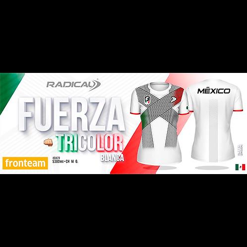 "Blusa Radical ""Fuerza Tricolor"" Blanca Dama"