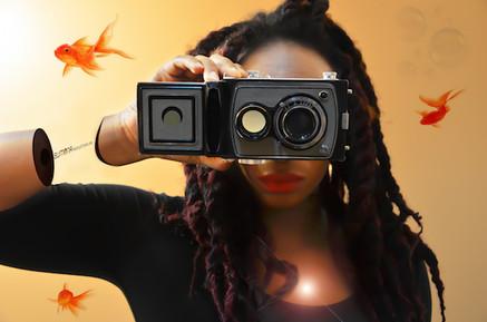 Angie shot with camera bonaculars & fish