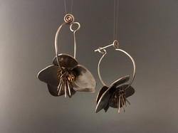 silver helleboer earrings