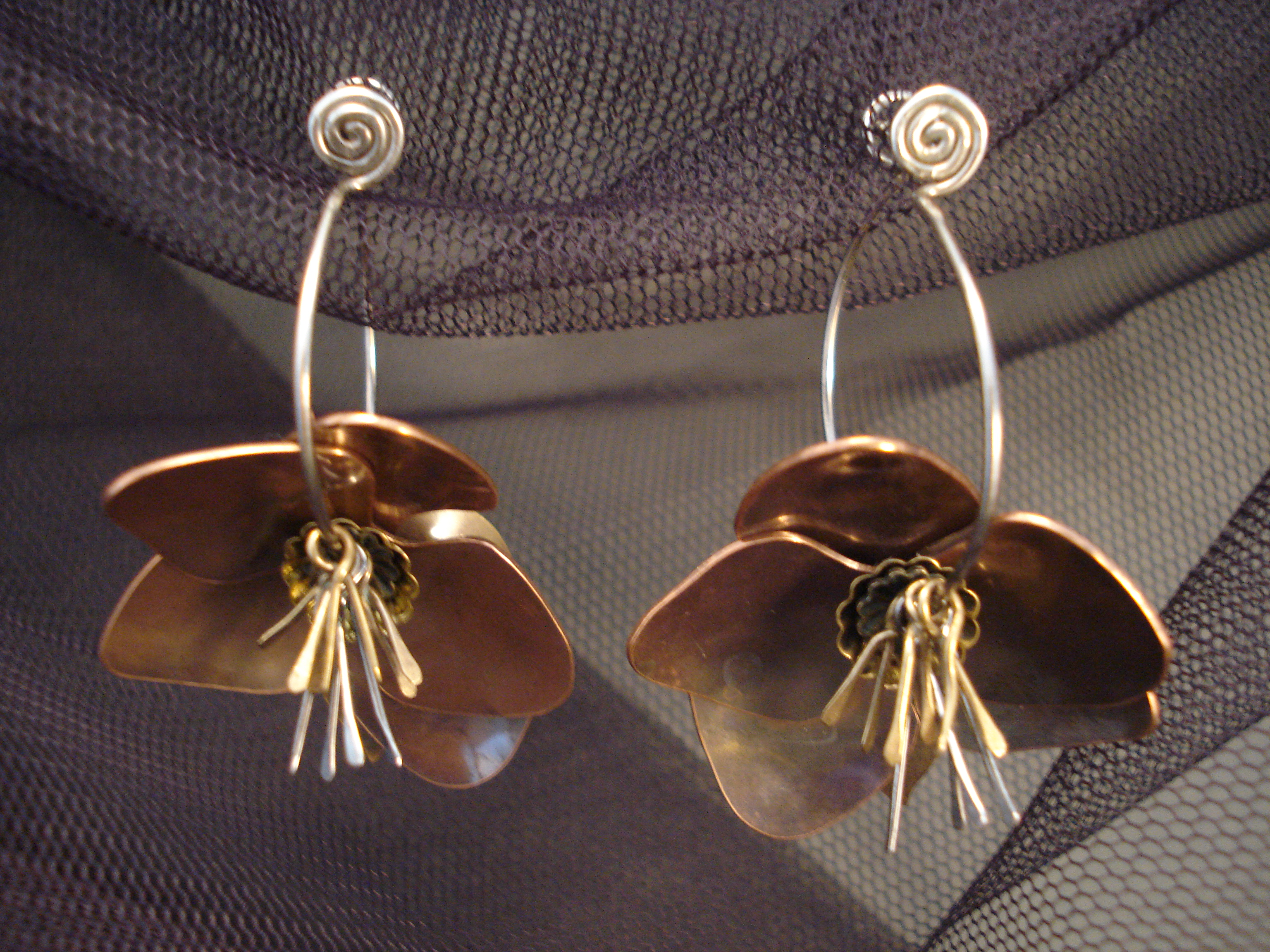 hellebore flower earrings