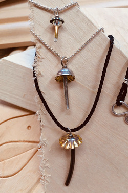 Tiny Mushroom Pendant Necklaces