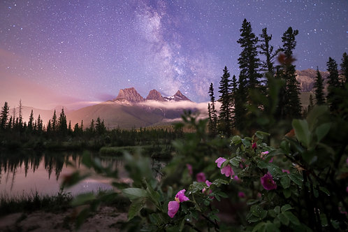 Three Sisters Mountain Under the Milky Way