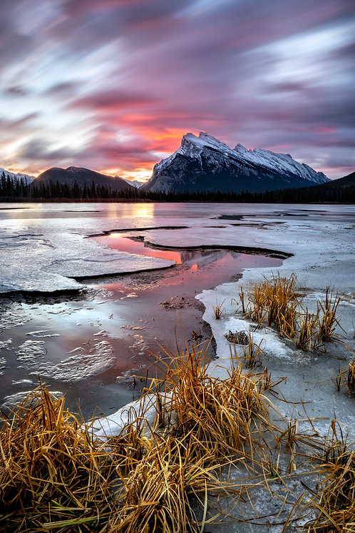 Frozen Sunrise over Mount Rundle