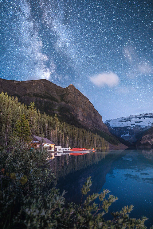 Milky Way over the Lake Louise Canoe Docks