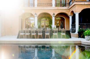 glamorous Savannah Wedding poolside reception