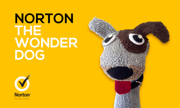 """Norton the Wonder Dog: I was asked to design a sock puppet spokesdog for Norton Zone's """"The World's Largest Dog Park"""" sweepstakes."""