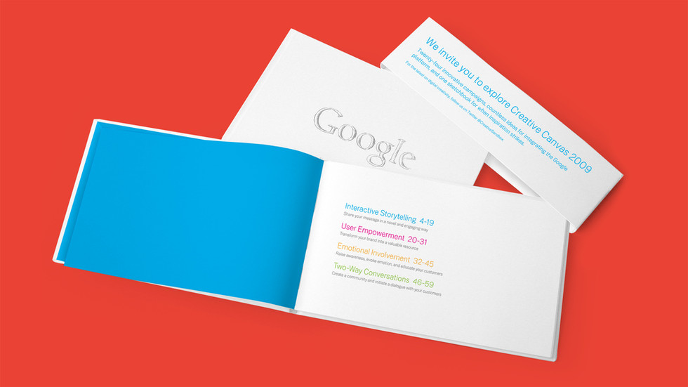 Google Creative Canvas: A set of 2 books created to showcase 24 of the most innovative advertising campaigns of 2009 and to inspire clients to get creative with their ad ideas. The set included one lookbook and one blank sketchbook.