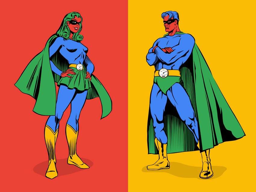 Freestanding Life-sized Cutouts: These life-sized cutouts were given to top selling sales teams in recognition of their super hero sales accomplishments.