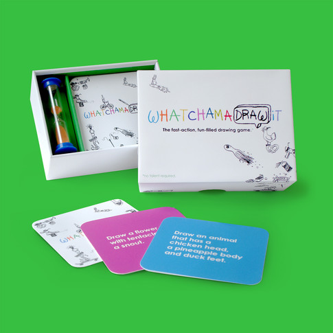Whatchamadrawit: The Imagineering Company needed a lighthearted and fun package design for their new drawing game.