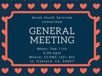 2/11 General Meeting (4:30-6:00pm)