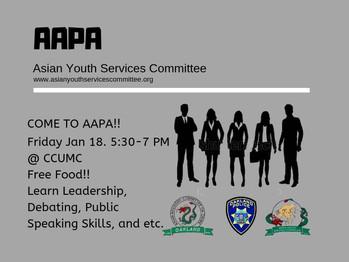1/18 AAPA Workshop (5:30PM-7:00PM)