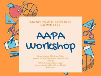8/30 AAPA Workshop (5-7pm)