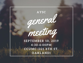 9/10 General Meeting (4:30-6pm)