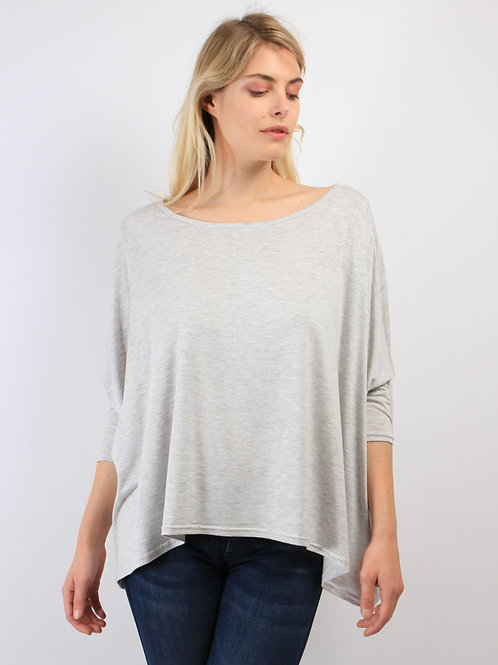 Top Oversize Gris Chiné Clair