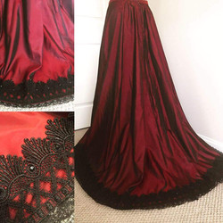 Red Taffeta Victorian Skirt