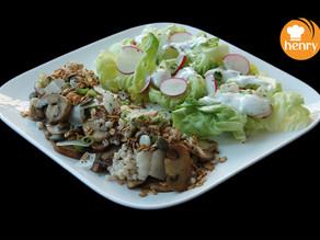 champignons met parelcouscous gepind met granola