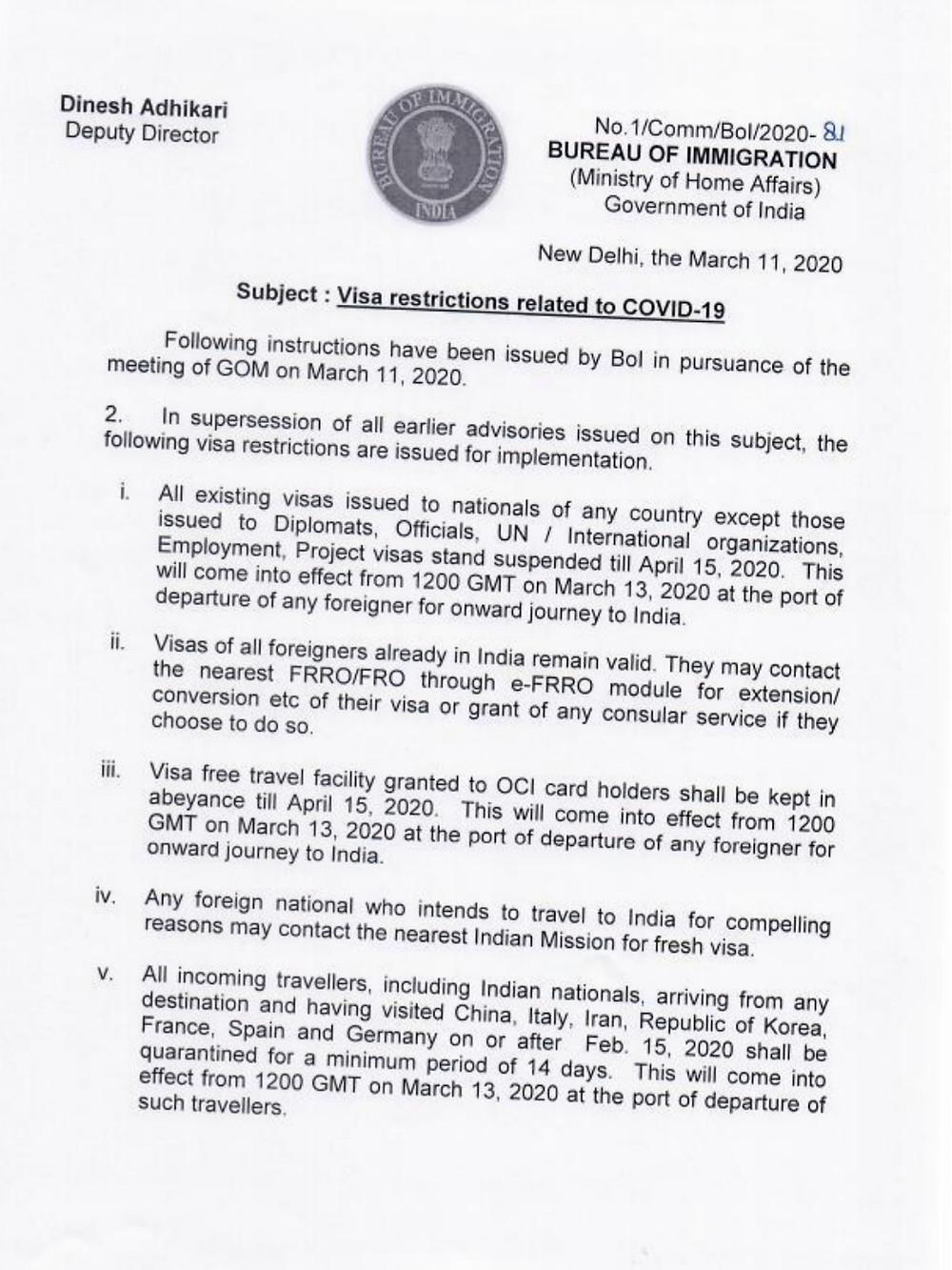 visa restriction corona virus Inde