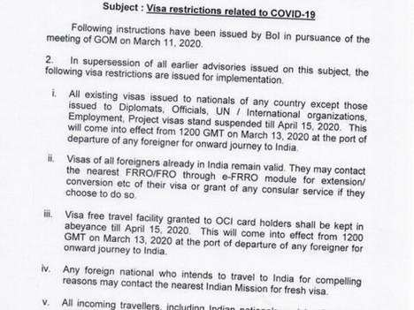 L'Inde ferme ses frontières jusqu'au 15 avril pour tenter de contrer le Coronavirus