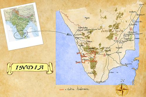 Carte de l'Inde du Sud pour Dessine-moi l'Inde