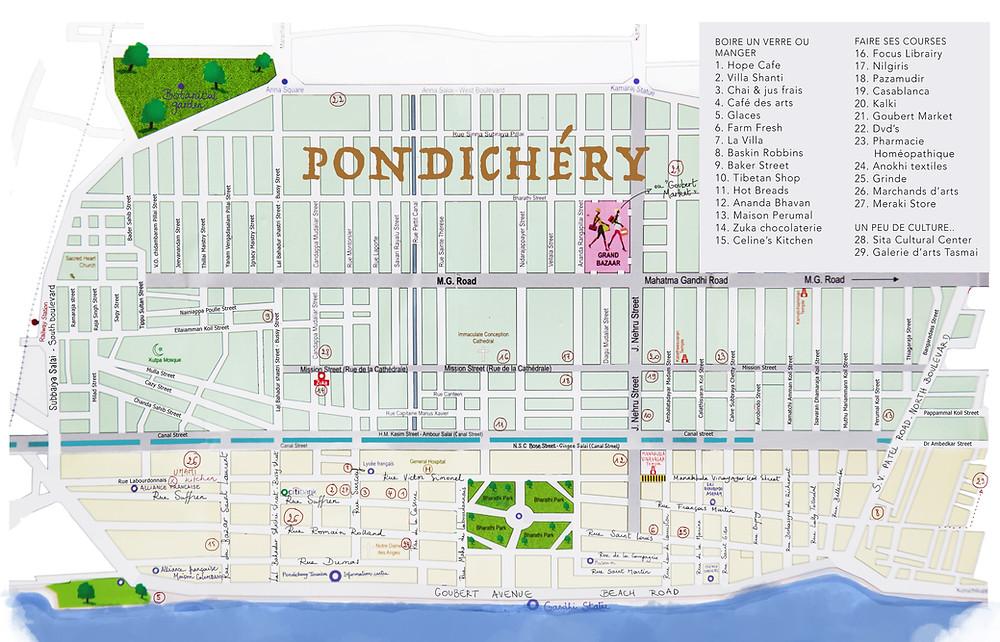Carte de Pondichéry