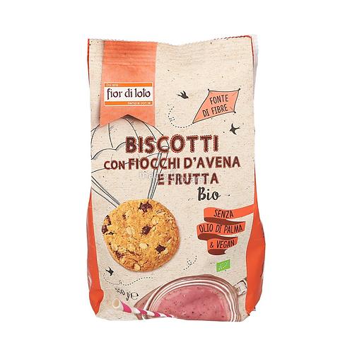 BISCOTTI CON FIOCCHI D'AVENA E FRUTTA BIO GR. 350 - Fior di Loto