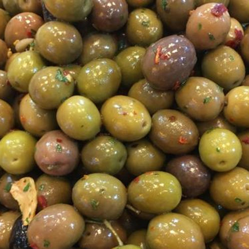 OLIVE ARLECCHINO PICCANTI GR 250 - Mediterranea Olive